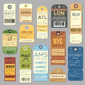 Luggage Carousel Baggage Vintage Tag Symbols. Old Train Ticket And Airline Journey Stamp Symbol. Lon poster