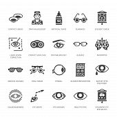 Ophthalmology, Eyes Health Care Glyph Icons. Optometry Equipment, Contact Lenses, Glasses, Blindness poster