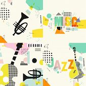 Set Of Music Cards And Banners. Music Cards With Instruments Flat Vector Illustration. Jazz Music Fe poster