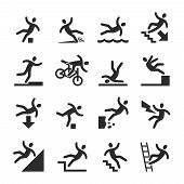 Stick Figure Man Falling Beware, Hazard Warning Symbols. Person Injury At Work Vector Signs Isolated poster
