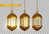 Gold Vintage Luminous Lanterns. Arabic Shining Lamps. Isolated Hanging Realistic Lamps. Effects Of T poster