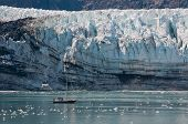 Tiny Boat And Glacier
