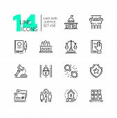 Law And Justice - Set Of Line Design Style Icons Isolated On White Background. High Quality Minimali poster