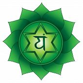 Anahata. Fourth, Heart Chakra Symbol. Isolated Vector Icon poster