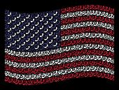 Call Icons Are Composed Into Waving Usa Flag Stylization On A Dark Background. Vector Concept Of Usa poster