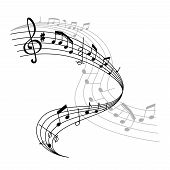 Musical Staff Or Music Stave Icon Of Notes And Clef For Music Concert. Vector Poster Design Of Music poster
