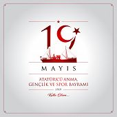 19th May, Commemoration Of Ataturk, Youth And Sports Day Turkey Celebration Card. poster