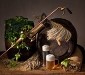 picture of bine  - a still life with beer and grain - JPG