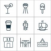 Eating Icons Set With Eating House, Table, Espresso And Other Restroom Elements. Isolated Vector Ill poster