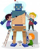 Illustration of Kids Building a Robot