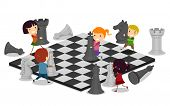 Постер, плакат: Иллюстрация детей играть в шахматы