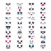 Kawaii Vector Cartoon Emoticon Character With Different Emotions And Face Expression Collection Illu poster