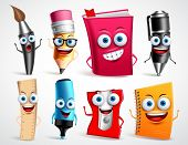School Characters Vector Illustration Set. Education Items 3d Cartoon Mascots Like Pencil And Book F poster