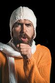 Patient With Cold Cough. Bearded Man Sick With Cold Coughs. Sick Man In Sweater, Hat And Scarf While poster