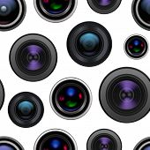 Realistic Detailed 3d Camera Lens Seamless Pattern Background On A White Closeup View Professional T poster