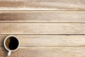 Cup Of Coffee On A Office Desk Or Wood Table Background. Top View With Copy Space. Wooden Background poster