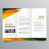 Trifold Brochure Template Presentation With Abstract Geometric Shapes poster