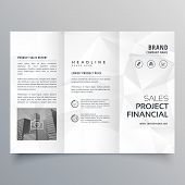 Minimal Abstract Gray Polygon Shapes Trifold Brochure Template poster