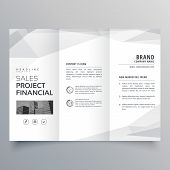 Simple Trifold Brochure Template Design With Abstract Shapes poster
