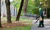 stock photo of leaf-blower  - Landscaper operating gasoline Leaf Blower while cleaning the tracks in the park - JPG
