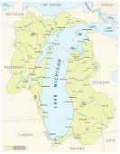 The Lake Michigan Drainage Basin Vector Map poster