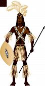 foto of zulu  - Vector Illustration of a man dressed in Zulu Carnival Halloween Costume - JPG