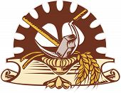 picture of hammer sickle  - illustration of a hammer sickle wheat and mechanical gear in background with scroll on isolated white background done in retro woodcut style - JPG