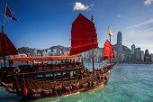 Red Wooded Boat Icon Of Hongkong City, Red Boat For Travel Hong Kong Island, China poster