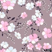Vector Image. Pink Flowers, Seamless Pattern. Abstract Grey Background With Pink Flowers. poster