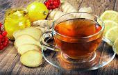 Tea For Cold And Flu. Vitamin Tea, Lemon, Ginger, Kiwi Fruit, And Viburnum For Tea For A Cold. Drink poster