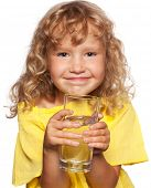 image of drinking water  - Child with a glass of water isolated on white - JPG