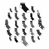 Socks Textile Icons Set. Simple Illustration Of 25 Socks Textile Vector Icons For Web poster