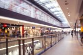 Large Empty Shopping Mall Inside, Lots Of Shops And Empty Corridors, Blurred Concept poster