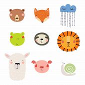 Set Of Cute Funny Hand Drawn Different Animal Faces, Snail, Cloud With Rain. Isolated Objects. Vecto poster