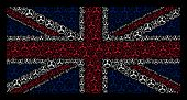 Постер, плакат: British Flag Composition Organized Of Wmd Nerve Agent Chemical Warfare Elements On A Dark Background