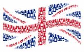 Waving United Kingdom Official Flag Collage Done Of Beer Bottle Icons. Vector Beer Bottle Design Ele poster