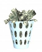 Money in the bin. Object isolated over white
