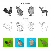 Puppy, Rodent, Rabbit And Other Animal Species.animals Set Collection Icons In Flat, Outline, Monoch poster