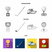 Cup, Golf Club, Ball On The Stand, Golfer Shoes.golf Club Set Collection Icons In Flat, Outline, Mon poster