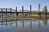 Marina By Willamette River In Portland Oregon