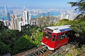 image of tram  - Tourist tram at the Peak - JPG