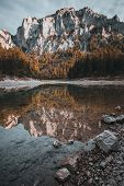 Mountain Reflection In A Lake In Austria During Autumn poster