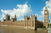 House of Parliament with  Big Ben  tower in London,  UK.  view from Themes river