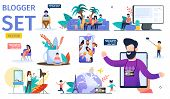 Female And Male Video Bloggers Trendy Flat Vector Characters Set. Young Men, Women And Children Maki poster