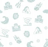 Weather, Natural Disasters, Seamless Pattern, Hatching, Vector, White. Images Of Various Natural Dis poster