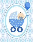 Newborn Baby, Boy, Postcard, Asia, Blue Rhombus, Vector. A Little Boy In A Blue Stroller. A Blue Bal poster