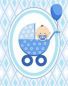 Newborn Baby, Boy, Postcard, Asia, Blue Rhombus, Vector. A Little Boy In A Blue Stroller. A Blue Bal poster