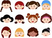 A Theme of cute vector Icons : Heads of Girls, Women, Kids (Female Set) Different ethnics, isolated on white background