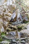 Sunlit Multicolored Rocks Of Avakas Gorge In Cyprus. poster