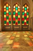 Stained Glass Window - Vitrage. Indian Or Arabic Window Pattern. Red Green And Yellow Painted Window poster